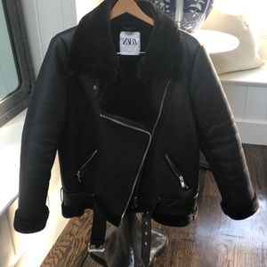 Zara black faux leather shearling biker jacket